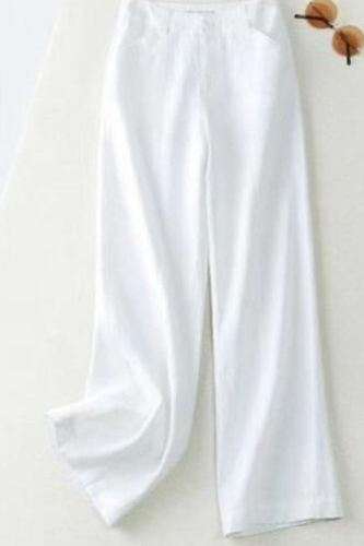 New summer drape feeling linen wide leg trousers for women loose and slim straight trousers casual trousers for women versatile