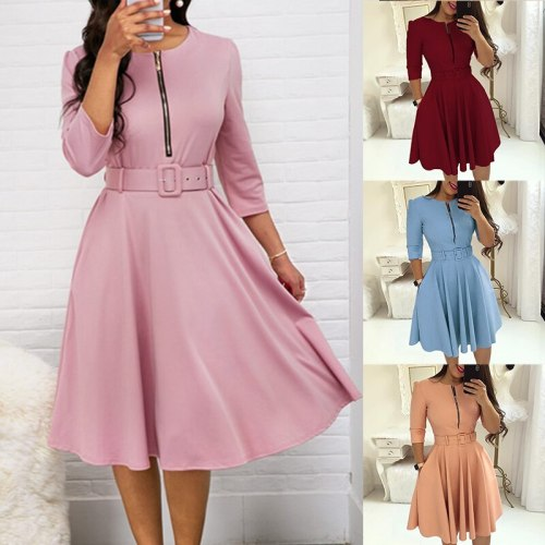 Elegant Women Solid Half Sleeve Party Dress Autumn Casual Zipper Knee-length Midi Dresses Ladies Big Swing Club Dress Vestidos