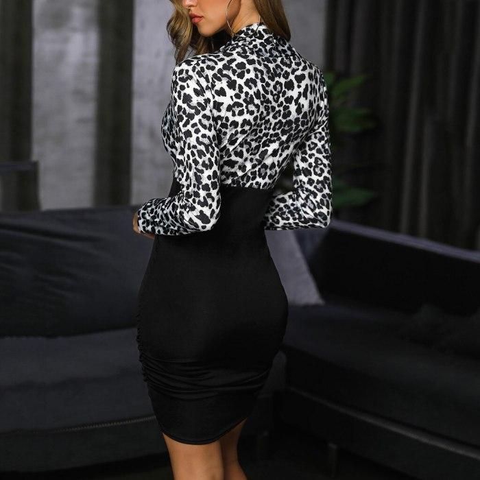 Dress Women Elegant Knot Long Sleeve Cross V-Neck Long Sleeve Leopard Print Bodycon Dresses For Women 2021 Summer Work Dress