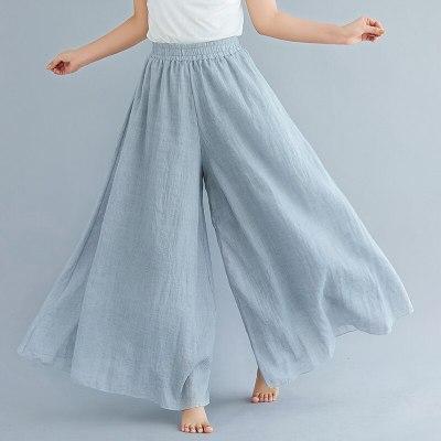 #0604 Wide Leg Pants Women Large Size Cotton Linen Elastic High Waist Beach Full Length Trouser Female Retro Loose Spring Summer