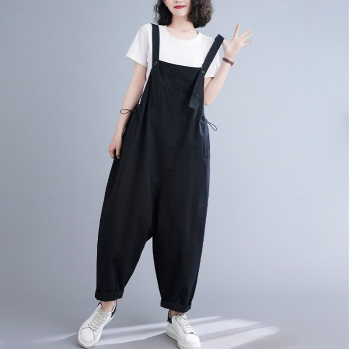 Korea Preppy Style Sleeveless Summer Rompers Cargo Pants Cotton Loose Fashion Women Casual Jumpsuits Straight Overalls