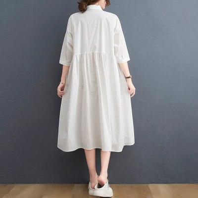 Plus Size Summer Shirt Dress Women  Lady White Solid Short Dress Loose Oversize Casual Black Basic New Cardigan 2021