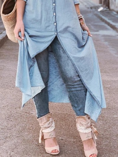 Summer new women's solid color loose casual denim single-breasted dress
