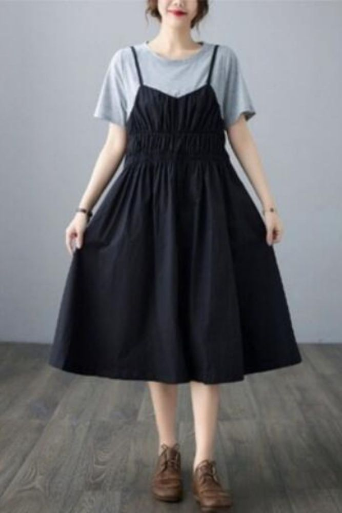 Color contrast stitching fake two piece dress fat mm large women's short sleeve round neck dress
