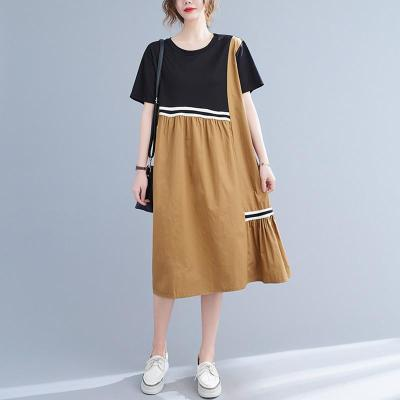 Women Summer Cotton Casual Dress New Arrival 2021 Summer Simple Style Patchwork Color Loose Female A-line Dresses B092