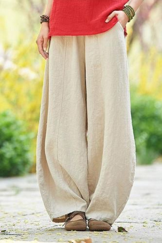 Autumn Vintage Linen Pants Women Solid Loose Trousers Female Casual Harem Pants Big Size 2021 Spring Bloomers