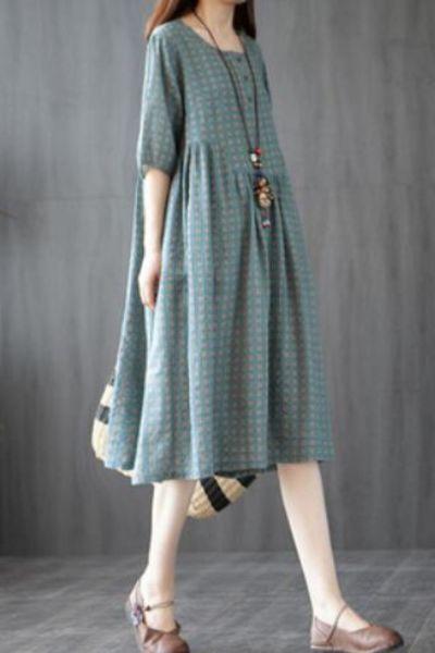 Korea Design Fashion Plaid Dress 2021 New Arrival Short Sleeve Loose Summer Dress Cotton Linen Women Travel Casual Midi Dress
