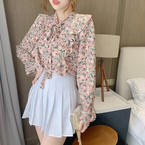 Elegant Blouses Women Ruffle Chiffon Shirts 2021 Spring Autumn Casual Printed Floral Pullover Tops Long Sleeve V-neck Blusas