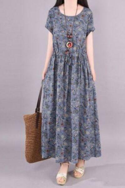 2021 New Summer Dress Loose Vintage Long Dress vestido de mulher Robe Cotton Small floral Big Hem Woman Dress