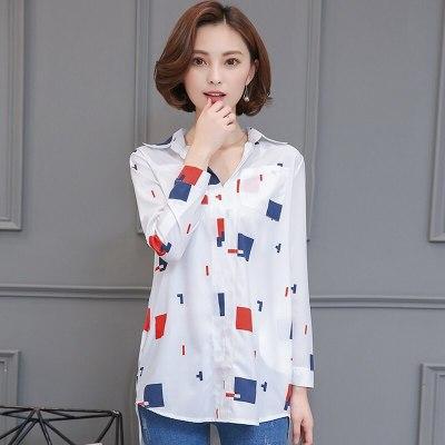 Summer Long Chiffon Floral Printed Shirts Women Tops Elegant Plus Size 4XL Loose Ladies Blouses Blusas Female 0.17KG