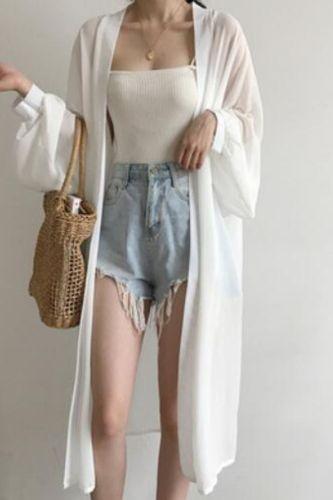Kimono Beach Summer Cardigan Women Long Sleeve White Shirt Plus Size Vintage Clothes Blusas Mujer De Moda 2021