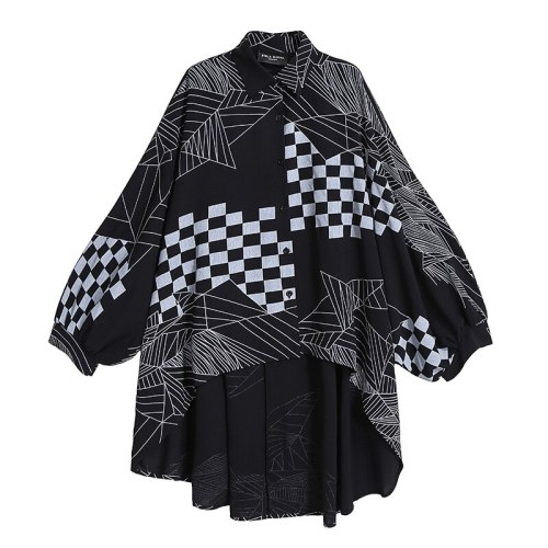 Vintage Oversize Plaid Patchwork Blouses Long Sleeve casual loose ladies shirts wholesale dropshipping