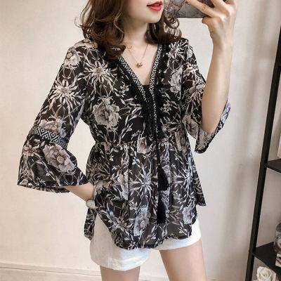 Women Fashion Bohemian Chiffon Blouse Female Tassel Floral Printed Shirt Flare Sleeve V-neck Loose Tops Plus Size Streetwear
