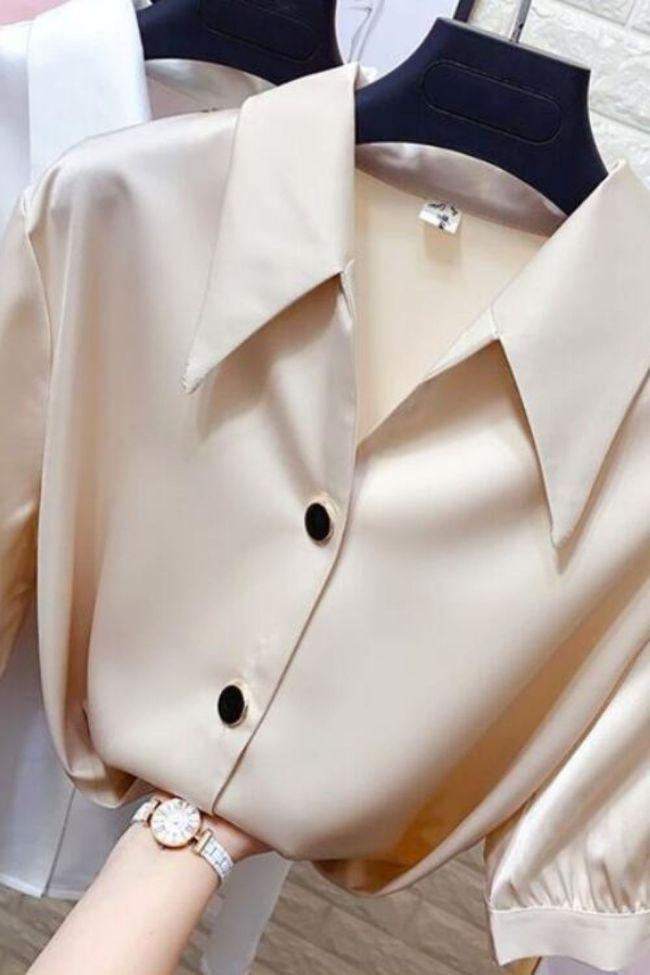 Lantern sleeve satin shirt female plus size summer new style Korean design sense OL professional wear loose casual chiffon shirt