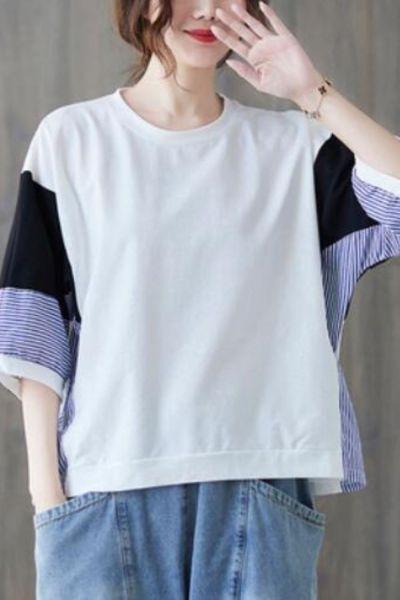BIG SIZE Summer Women Fashion Stripe Spliced Batwing Tops Ladies Female Plus Large Short Sleeve Casual Loose Femme T Shirt