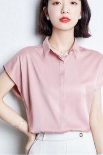 Women Blouses Button Up Satin Silk Shirt Vintage Short Sleeve Top Women Street Shirts Summer