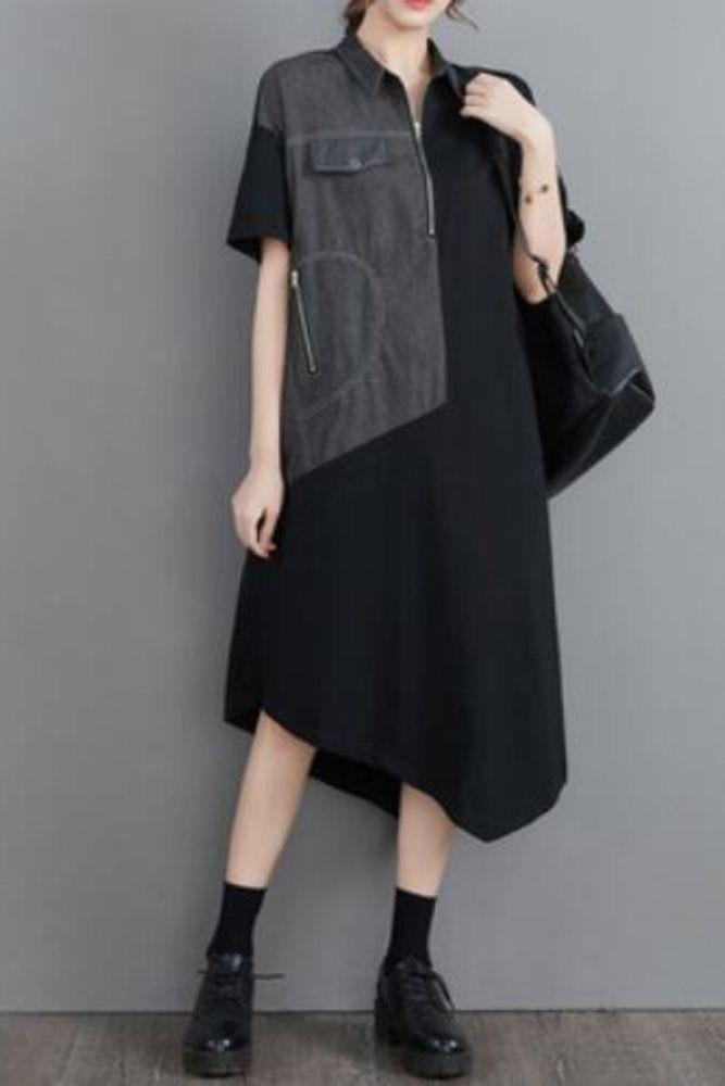 Women Dress Denim Patchwork Asymmetry Long Plus Size Dresses Women Irregular Color Matching Loose Summer Dresses 2021 Fashion