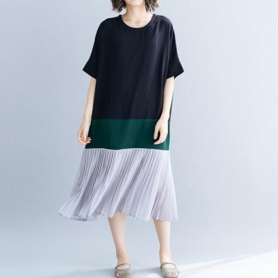Women Clothing Casual New Patchwork Loose Dresses For Summer O-neck Short Sleeve Pleated Korean Dresses 2021  AE733