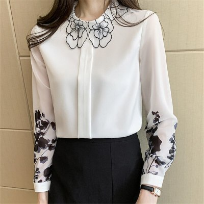 Spring 2021 Fashion Printed Chiffon Shirt White Ladies Shirt Long Sleeve Top Womens Tops and Blouses