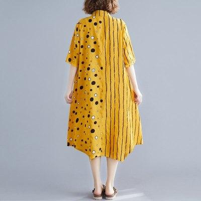 cotton linen plus size vintage Polka Dot women casual loose long summer shirt dress elegant clothes 2021 ladies dresses sundress