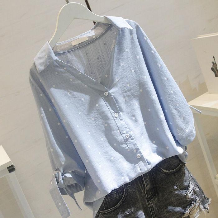 2021 plus size White linen blouse shirt women tops and blouses  Fall female shirt polka dot OL women blusas 5XL