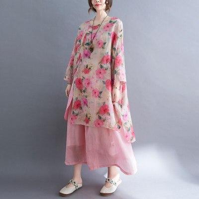 2021 Casual Loose Floral Short Sleeve Dress Elegant Ladies Fashion Cotton Linen Women Summer One Piece Long Dresses