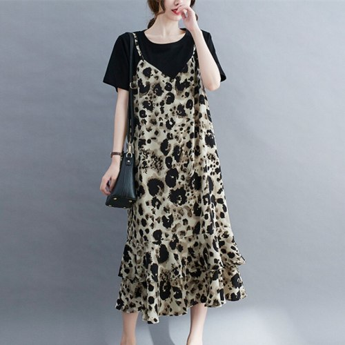 2021 New Arrival Patchwork Print Leopard Ruffle Fashion Women Summer Dress Holiday Travel Casual Dress Office Lady OL Work Dress