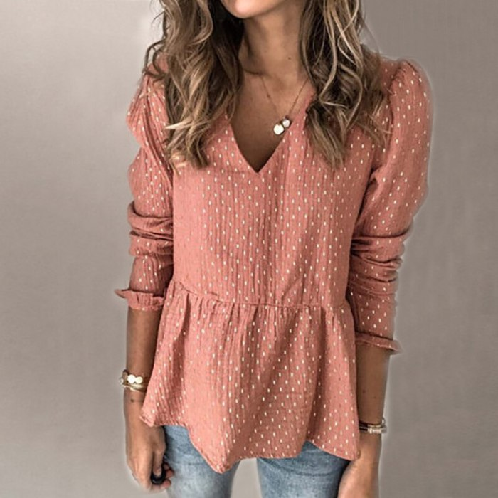 V Neck Casual Long Sleeve Tops Women Spring Polka Dot Elegant T-shirt Female Fashion Beach Party Club Daily Office Pullover Tops
