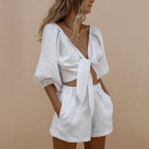 White Women's Fashion Sexy Set Casual Solid Middle Sleeve T-shirt Crop Tops And Shorts Sports Set Spring Autumn Short Set @40