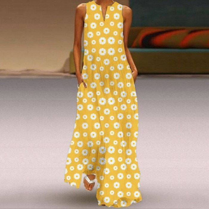 Sexy V Neck Daisy print Dress Women Sleeveless Bohemian Maxi Long Dresses Casual Loose Beach Party Vestidos Femme Robe