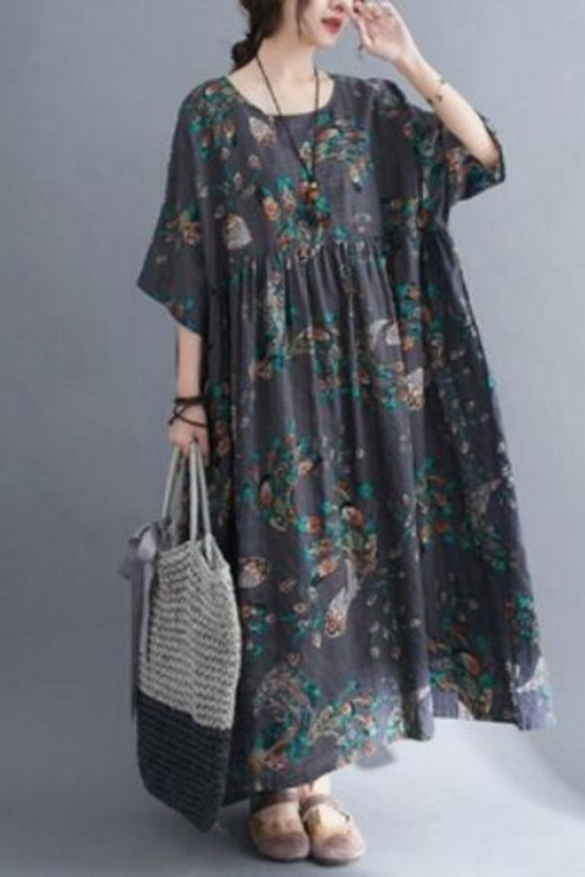short sleeve cotton vintage floral dresses for women casual loose long sun summer dress elegant clothes 2021 sundress