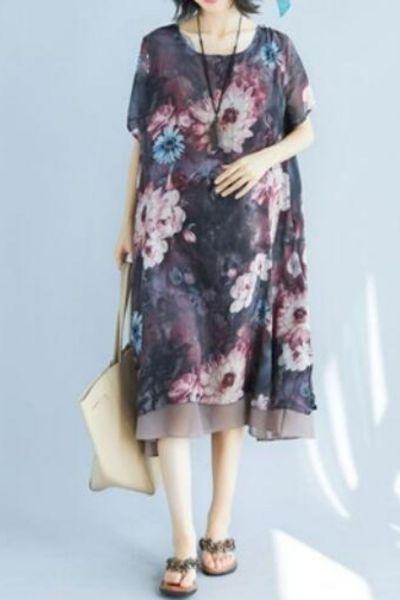 BIG SIZE 4XL Summer Style Women Elegant Vintage Flower Print Tops Ladies Female Plus Large Short Sleeve Casual Chiffon Dress