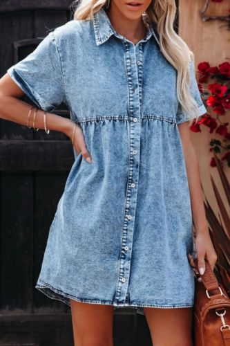 2021 Summer New Women's Fashion Hot-Selling Loose Solid Color Stitching Single-Breasted Lapel Short-Sleeved Dress