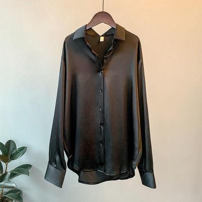 High Quality Elegant Imitation Silk Blouse Spring Women Fashion Long Sleeves Satin Blouse Vintage Femme Stand Street Shirts