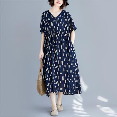 Summer 2021 New Casual Women Korean Dress Simple Loose Comfortable V-neck Short Sleeve Pockets Mid-calf Length Dresses