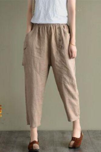 2021 Spring Summer Women Cotton Linen Harem Pant Solid Vintage Loose Button Elastic Waist Office Female Casual Trousers M161