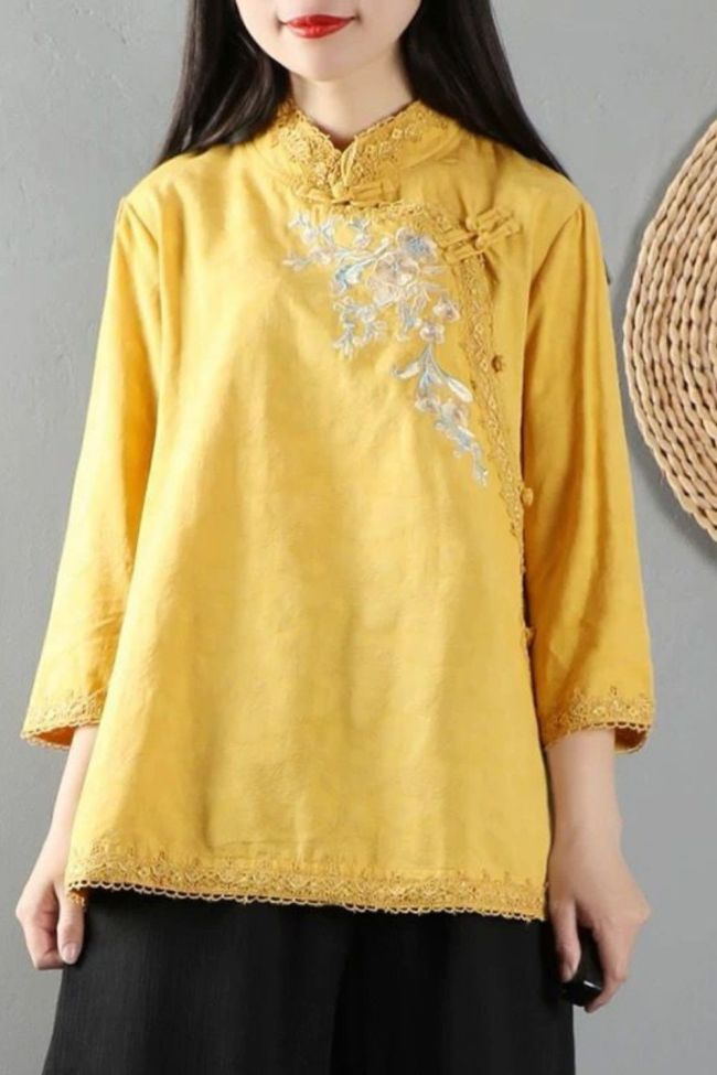 100% Cotton Shirt Women Long Sleeve Casual Tops New 2020 Autumn Vintage Floral Embroidery High Quality Woman Blouses Shirts P969