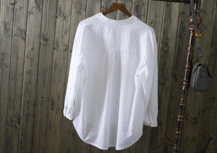2021 Spring Summer Women White Shirts Blouses V-Neck Long Sleeve Shirts Cotton Casual Shirts Tops Women LY321