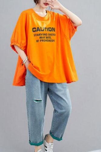 2021 Summer Women Shirt Print Big Size Bat Sleeve O neck Leisure Pullovers Half Sleeve Casual Cotton Blouse