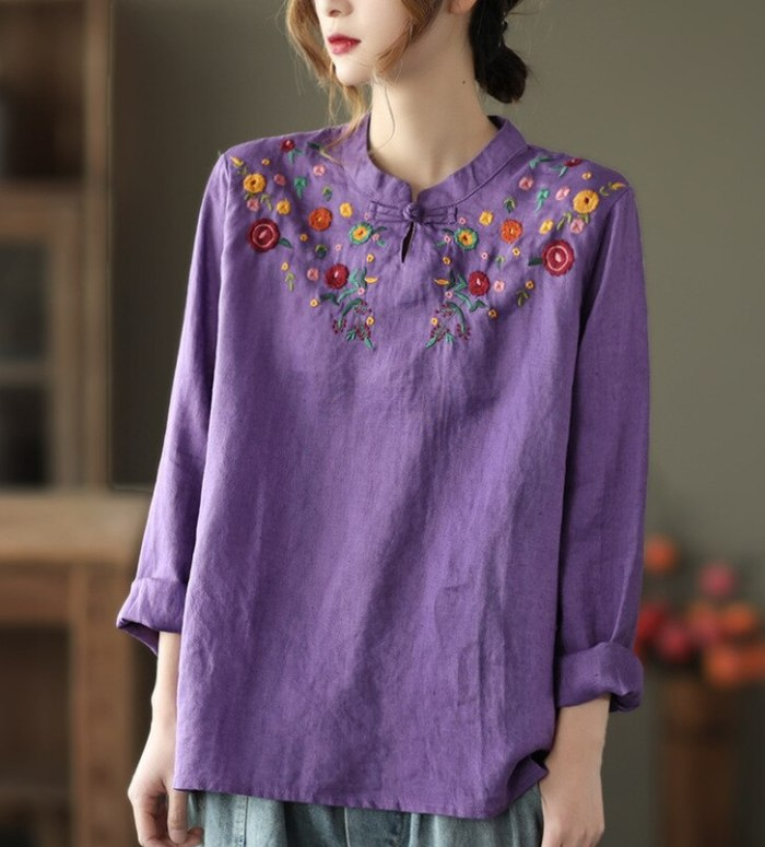 2021 Spring Vintage Floral Embroidery Shirts Women Full Sleeve Thin Linen Indie Folk Style Tops Female Wild
