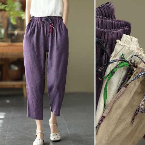 Women's Harem Pants Spring New Fashion Casual Pant Female Women Purple High Waist Plus Size Trousers Pantalon Mujer Y293