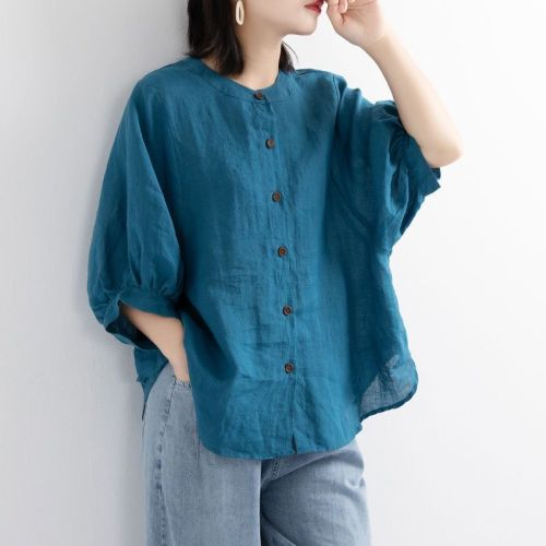 2021 Cotton Linen Shirt Women Lantern Sleeve Half O-Neck Retro Artistic Plus Size Loose Half Sleeve Shirt Women Casual Tops