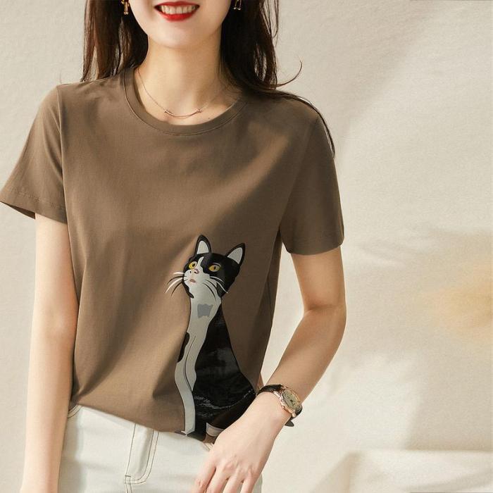 100% Cotton T-shirt Women's Short Sleeve New Base Shirt 2021 Summer Printing Loose Cartoon Age Reducing Top