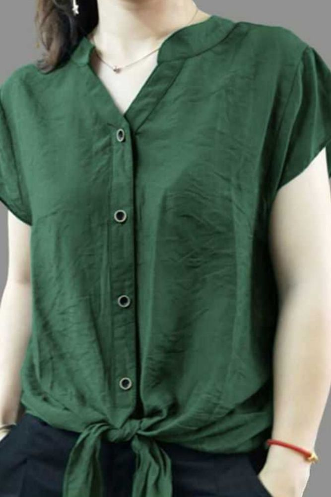Summer Women Chiffon Short Sleeve Blouses Fashion V-Neck Shirts Korean Version Solid Color Tops Casual Loose Blusas MM0285