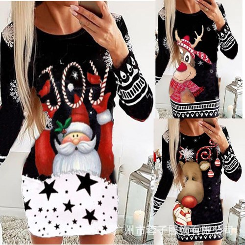 Elegant Vintage Christmas Dress Women Long Sleeve Slim Fit Winter Dresses Xmas Print Bodycon Night Party Dress Vestido Plus Size