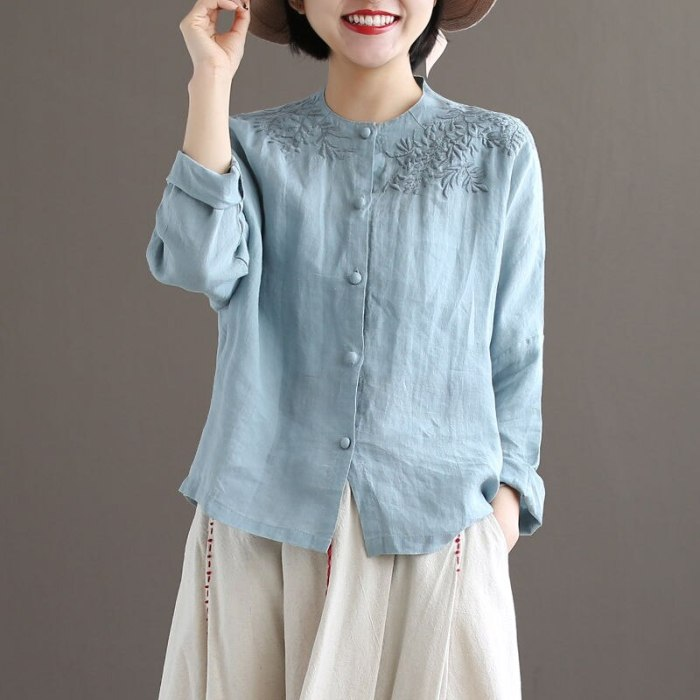 Cotton embroidered shirt women's 2021 autumn new Chinese style bamboo leaf loose long-sleeved wild solid color base shirt