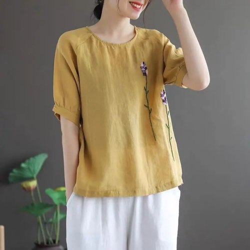Elegant Embroidery Solid short Sleeve O-neck tee Women Fashion casual Loose Big Size T shirt ladies 2021 new Vintage summer tops