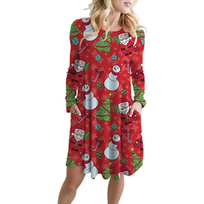5XL 2020 Large Size Winter Clothes Christmas Party Dresses Woman Snowman Print Sweet A-Line Dress Long Sleeve Loose Casual Dress