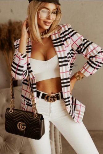 Slim Plaid Blazers Women Autumn Suit Jacket Female Work Office Lady Suit Black None Button Business Notched Blazer Coat Zevrez