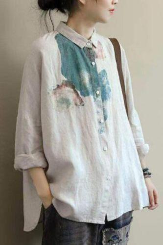 Women Casual Blouses Shirts New Arrival 2020 Spring Fashion Vintage Print Cotton Linen Female Loose Tops Shirts Plus Size P290